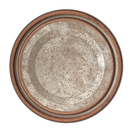 tin: Grungy rusty round tin box with lid isolated on white background