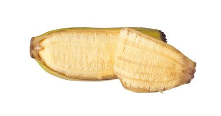 expose: Single peeled banana isolated on white background