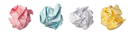 ball lump: Colorful paper crumpled into balls isolated on white background Stock Photo