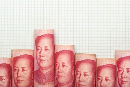 bearish: Chinese currency forming a downtrend graph Stock Photo