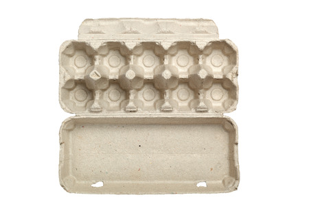 egg carton: Empty egg carton isolated on white background
