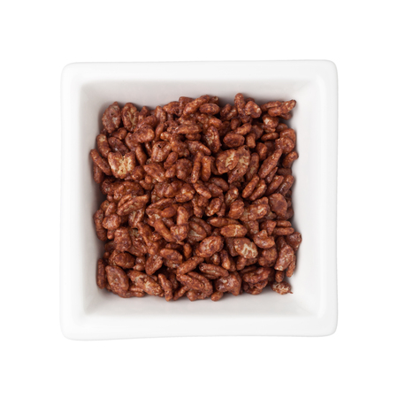 breakfast bowl: Chocolate flavored breakfast cereal in a square bowl isolated on white background