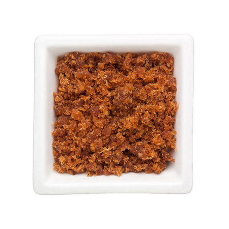 dried: Spicy dried shrimp sambal in a square bowl isolated on white background