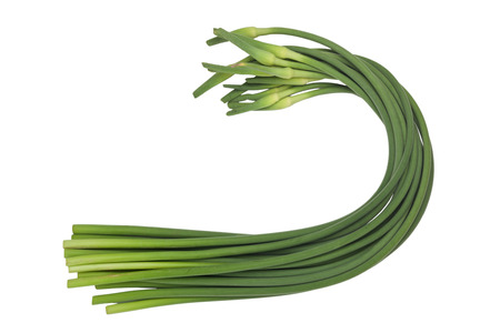 scapes: Stalks of garlic scapes isolated on white background Stock Photo
