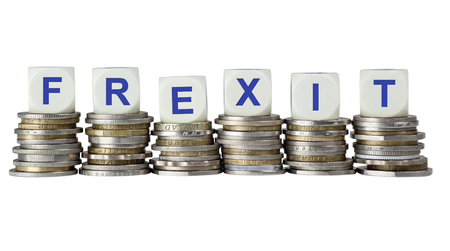 portmanteau: Stacks of coins with the word FREXIT, referring to the possibility of France leaving the European Union Stock Photo