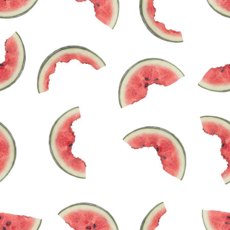 Seamless pattern of slices of watermelon being eaten isolated on white background