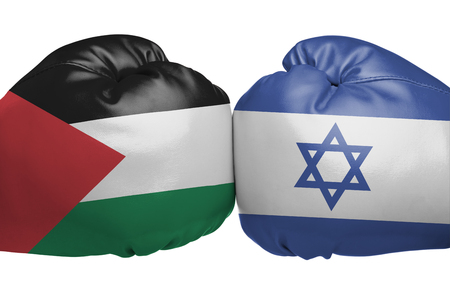 Close up of boxing gloves with Israel and State of Palestine flag symbols isolated on white background