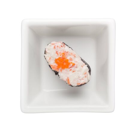 Sushi - Kani mayo gunkan in a square bowl isolated on white background