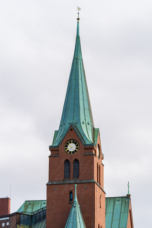 View from the Landungsbr?cken onto the Swedish Gustaf Adolfs Church in Hamburg.