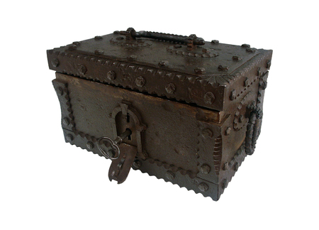 Sturdy antique iron chest with a concealable lock on a white background. Banco de Imagens