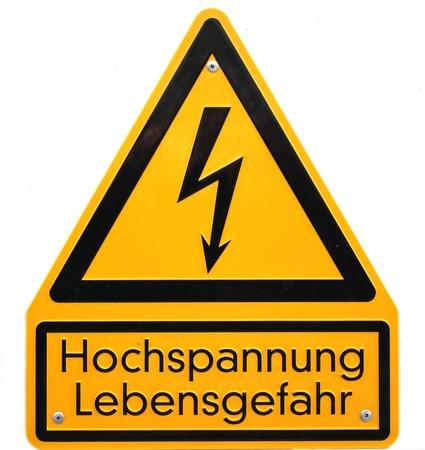 electroshock:   High voltage sign in Germany  The lower lines mean high voltage life danger