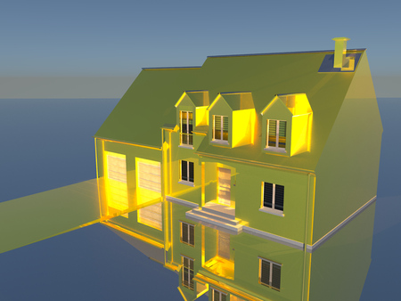 raytracing:   3D rendering of a golden house on reflecting silver ground. Stock Photo