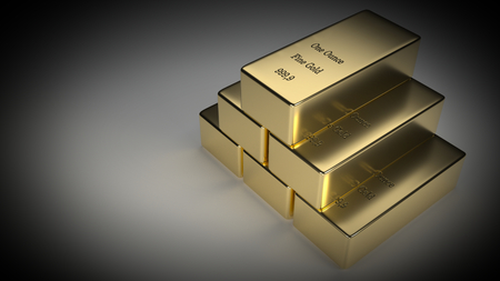 raytracing:   Realistic 3d rendering of 6 gold bars. Vignetting was added. Stock Photo