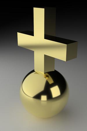 Realistic rendering of golden cross on ball.