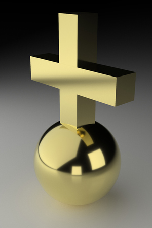 raytracing:   Realistic rendering of golden cross on ball.