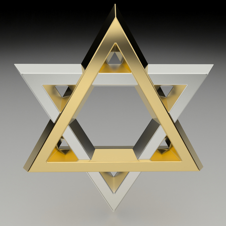 raytracing:   Realistic rendering of the star of David in gold and silver.