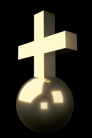 raytracing:   Realistic rendering of golden cross on ball, isolated on Black. Stock Photo