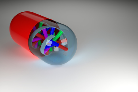 raytracing:   Rendering of DNA in a pill, symbolizing research in medicine and genetics. Stock Photo