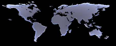 raytracing:   3D-Rendering of world map on black background. The material is rough glass.