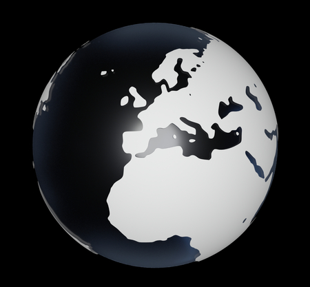 3D-Rendering of globe on black background. The material is rough glass with matte white land and europe is in the center. Stock Photo