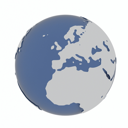 raytracing:   3D-Rendering of globe on white background. The material is rough glass with matte white land and europe is in the center. Stock Photo