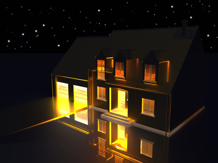 raytracing:   3D rendering of a golden house on reflecting silver ground at night.