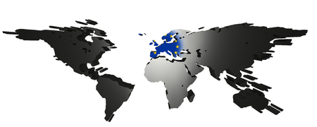 3D-Rendering of world map on white background. Europe is in the center an the european flag is visible.