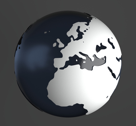raytracing:   3D-Rendering of globe on gray background. The material is rough glass with matte white land and europe is in the center. Stock Photo
