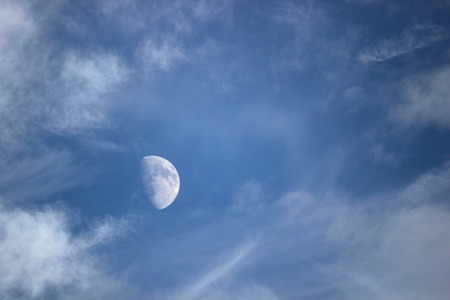 waxing gibbous:   Moon on sky with clouds. Stock Photo