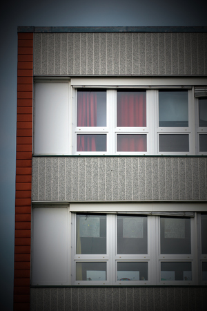 image created 21st century:   Part of a generic building reflecting the architectural style which was common in the GDR. Vignetting was applied.