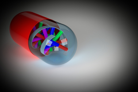 raytracing:   Rendering of DNA in a pill, symbolizing research in medicine and genetics. Vignetting was applied.