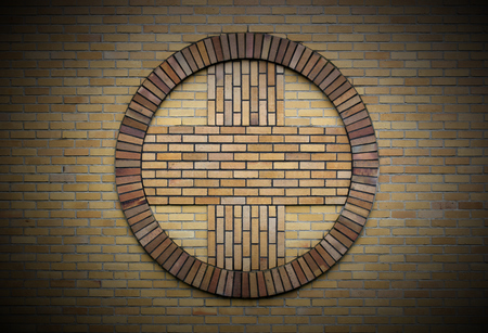 image created 21st century:   Cross symbol on a church wall. Vignetting was applied. Stock Photo