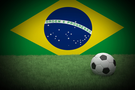 image created 21st century:   Realistic 3d rendering of a football in front of the flag of Brazil. Vignetting was applied. Stock Photo