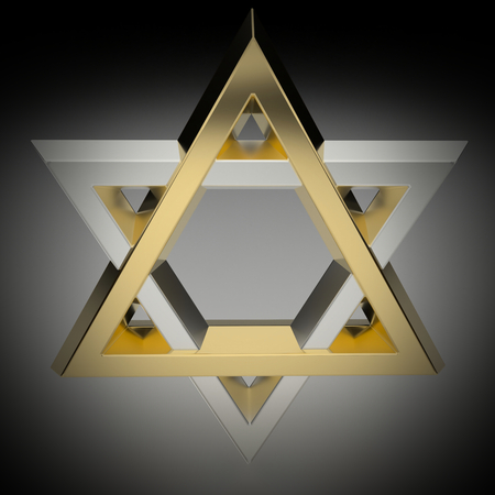 Realistic rendering of the star of David in gold and silver. Vignetting was applied. Stock Photo