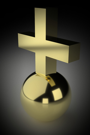 Realistic rendering of golden cross on ball. Vignetting was applied. Stock Photo