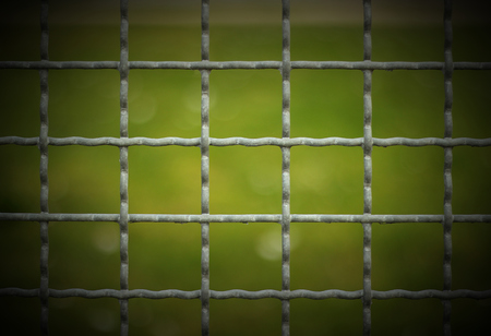 image created 21st century:   Looking through the gaps of a metal fence. Vignetting was applied.