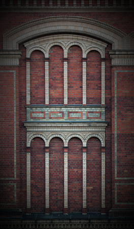 image created 21st century:   Magnificient wall from a big old official building. Vignetting was applied. Stock Photo