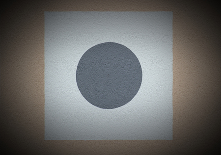 image created 21st century:   Plaster with square and circle on a house wall. Vignetting was applied.
