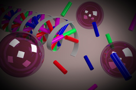 Rendering of formingsynthesis of a DNA double helix. Vignetting was applied. Stock Photo