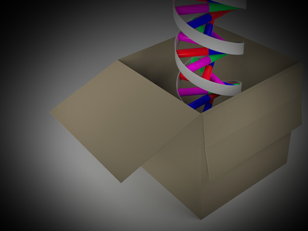 Rendering of a DNA double helix in a cardboard box. Vignetting was applied. Stock Photo