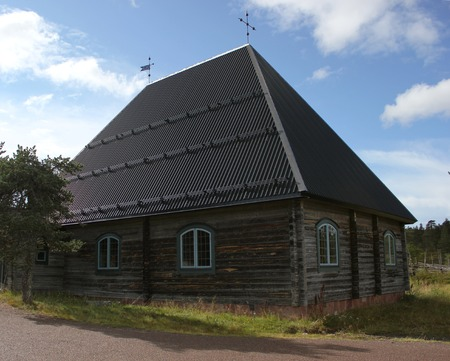 front stoop: A wooden church in Dalarna, Sweden.