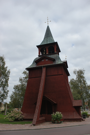 front stoop: Wooden church building in Malung, Dalarna, Sweden.