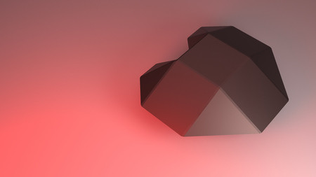 raytracing: 3D rendering of heart of steel in red light.