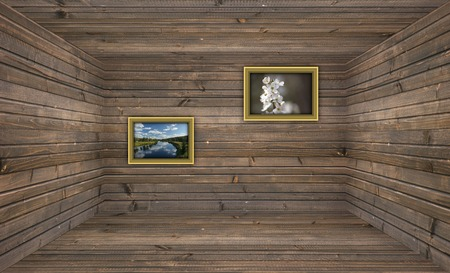 A 3D rendering of an empty wooden room. photo