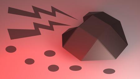 3D rendering of heart of steel in red light.