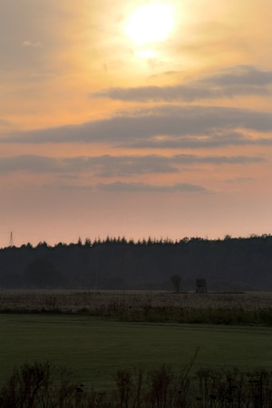 Vibrant orange sky with sun over a meadow landscape in Mecklenburg-Vorpommern, Germany. photo