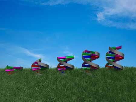 Side view of DNA double helices growing through rendered grass. Stock Photo