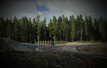 scandinavian peninsula: Newly built road in Sweden. Stock Photo