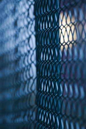 wire mesh: Abstract shot of a green wire mesh fence with defocusing effect and light effects in the background. Stock Photo