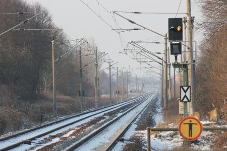 railtrack: Snowy railtrack in Germany in winter on a winter day.